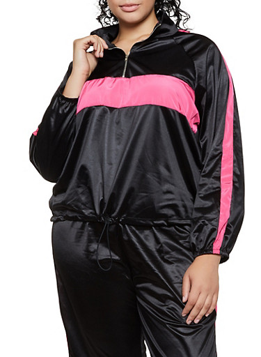 Plus Size Color Block Satin Windbreaker Jacket,BLACK,large