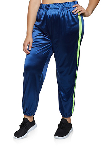Plus Size Satin Windbreaker Joggers,NAVY,large