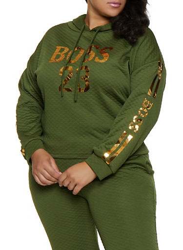 Plus Size Quilted Boss 23 Sweatshirt,OLIVE,large