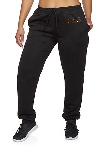 Plus Size Quilted Boss Joggers,BLACK,large