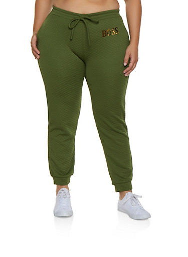 Plus Size Quilted Boss Joggers,OLIVE,large