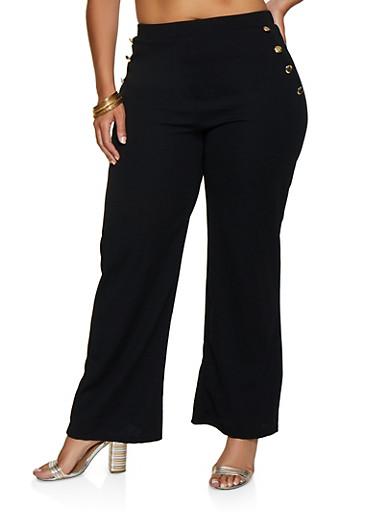 Plus Size Metallic Button Dress Pants,BLACK,large