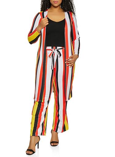 Plus Size Soft Knit Striped Duster,BLACK,large