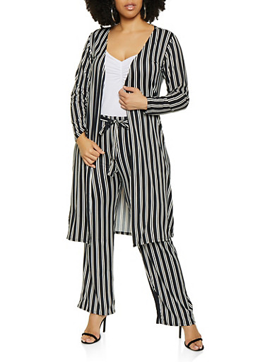 Plus Size Striped Soft Knit Duster | 3850074019224,BLACK,large