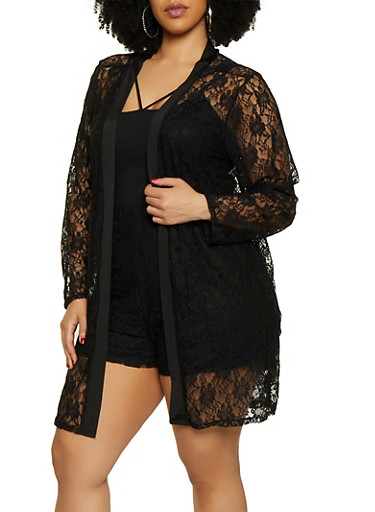 Plus Size Lace Duster | 3850074286137,BLACK,large