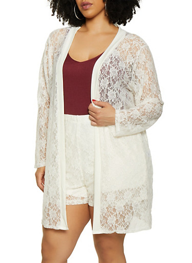 Plus Size Lace Duster | 3850074286137,WHITE,large
