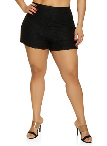 Plus Size Pull On Lace Shorts,BLACK,large