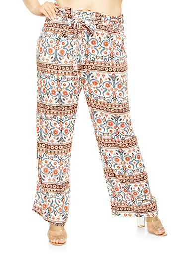 Plus Size Printed Paper Bag Waist Pants,WHITE,large