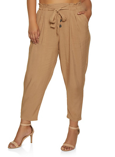 Plus Size Button Tie Front Pants,KHAKI,large