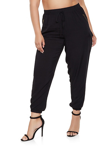 Plus Size Lightweight Cargo Pants,BLACK,large