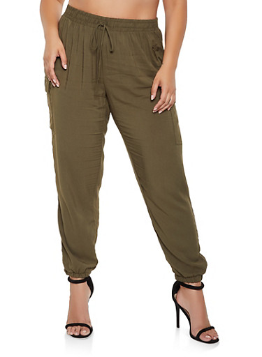 Plus Size Lightweight Cargo Pants by Rainbow