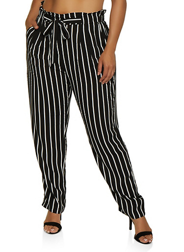 Plus Size Tie Front Striped Pants,BLACK/WHITE,large