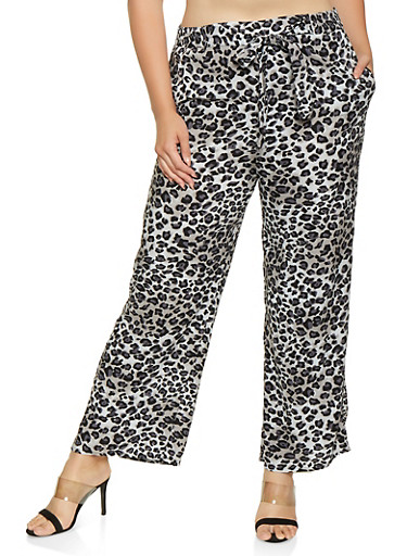 Plus Size Cheetah Print Palazzo Pants,GRAY,large