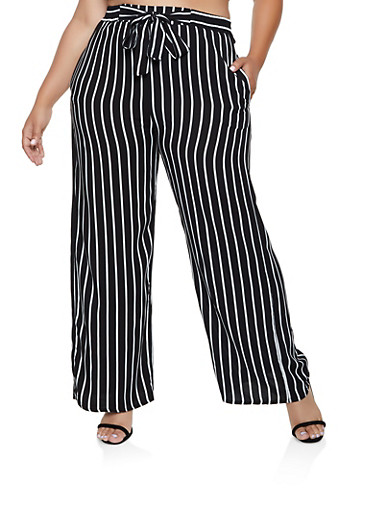 best popular brand stylish design Plus Size Vertical Stripe Palazzo Pants | 3861054267096