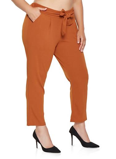 Plus Size Tie Front Dress Pants,TAN,large