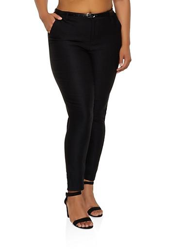 Plus Size Belted Stretch Dress Pants,BLACK,large