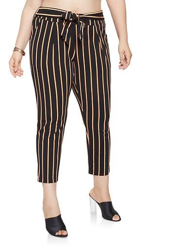 Plus Size Striped Dress Pants,BLACK,large