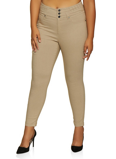 Plus Size 3 Button Stretch Pants,KHAKI,large