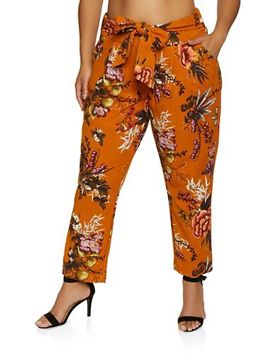 Plus Size Floral Crepe Knit Pants,MOCHA,large
