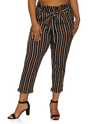 Plus Size Tie Waist Striped Dress Pants,BLACK,large