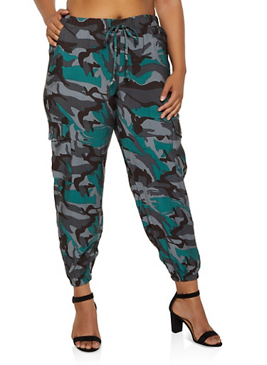 Plus Size Camo Cargo Joggers | 3861056576160,GREEN,large