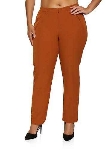 Plus Size Faux Pocket Dress Pants,CAMEL,large