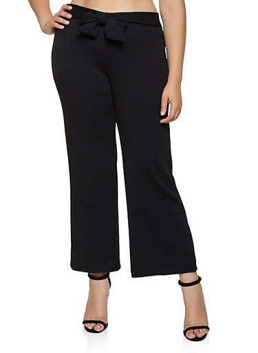 Plus Size Crepe Tie Front Dress Pants,BLACK,large