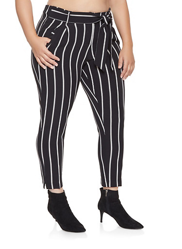 Plus Size Striped Tie Waist Dress Pants,BLACK,large