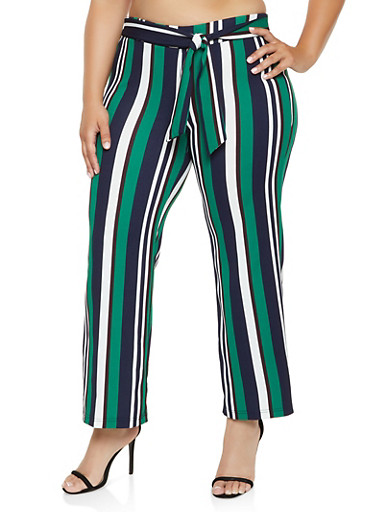 Plus Size Striped Tie Front Wide Leg Pants,KELLY GREEN,large