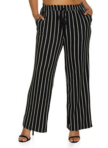 Plus Size Textured Knit Striped Pants,BLACK,large