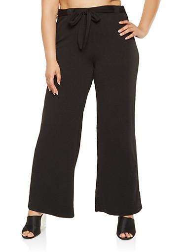 Plus Size Tie Front Dress Pants,BLACK,large