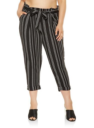 Plus Size Striped Paper Bag Waist Pants,BLACK/WHITE,large