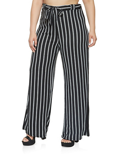 Plus Size Striped Palazzo Pants,BLACK,large