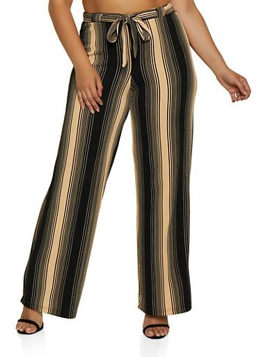 Plus Size Textured Knit Striped Palazzo Pants,BLACK,large