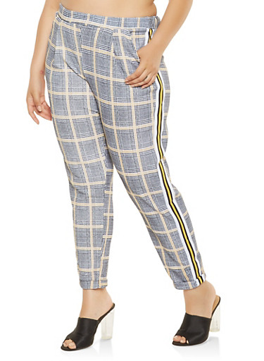 Plus Size Side Stripe Plaid Pants,YELLOW,large