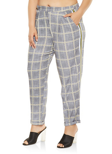 Plus Size Side Stripe Plaid Pants,GREEN,large