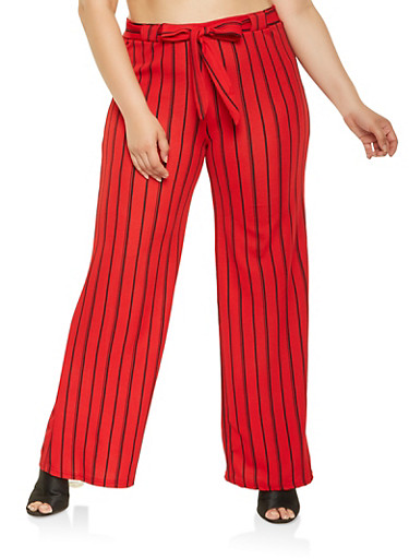 Plus Size Striped Palazzo Pants,RED,large