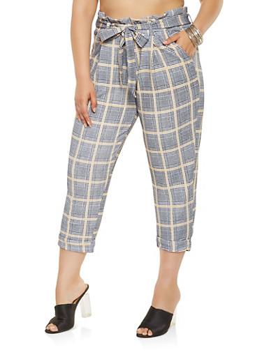 Plus Size Plaid Paper Bag Waist Pants,MUSTARD,large