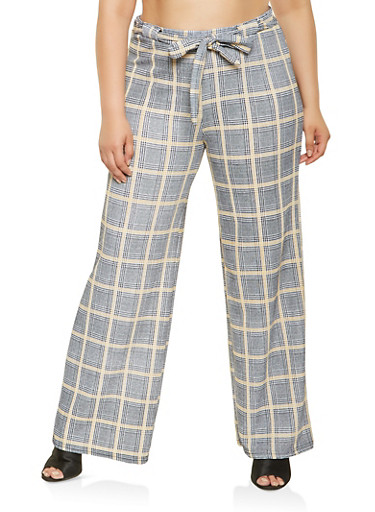 Plus Size Plaid Tie Front Pants,BLACK/WHITE,large