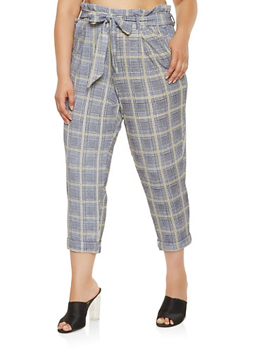 Plus Size Plaid Dress Pants,GRAY,large