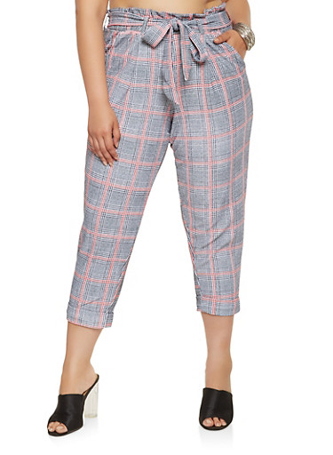 Plus Size Plaid Paper Bag Waist Pants,RED,large