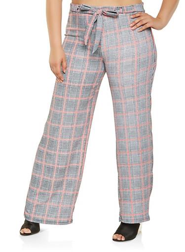 Plus Size Plaid Tie Waist Pants,RED,large