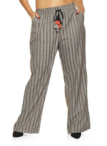 Plus Size Striped Dress Pants,GRAY,large