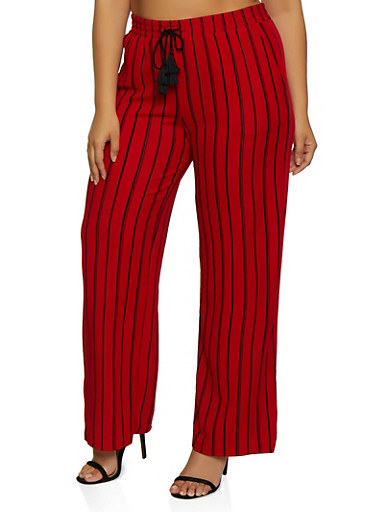 Plus Size Striped Tassel Palazzo Pants,RED,large
