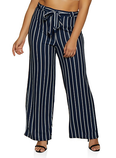 Plus Size Textured Striped Tie Front Palazzo Pants,NAVY,large