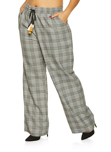 Plus Size Plaid Dress Pants,MUSTARD,large