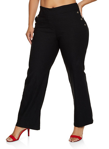 Plus Size Button Detail Flared Dress Pants,BLACK,large