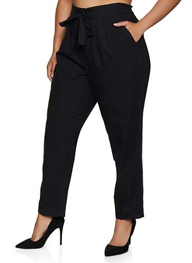 Plus Size Cuffed Tie Front Pants,BLACK,large