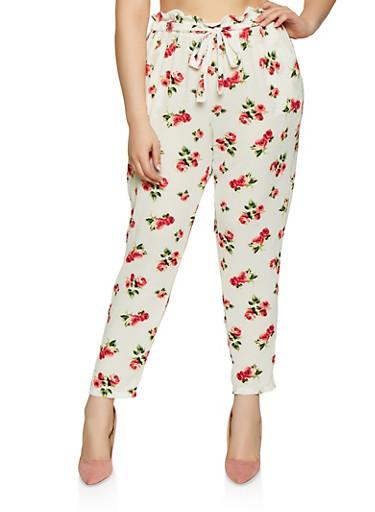 Plus Size Floral Tie Front Paper Bag Waist Pants,IVORY,large