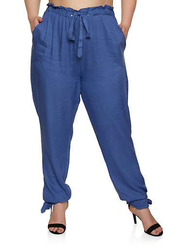 Plus Size Tie Paper Bag Waist Pants,BLUE,large